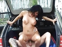 breasty non-professional wife fucked in a car