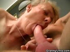 bushy granny cock sucks and acquires fucked