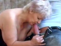 chubby old golden-haired granny in nylons bonks