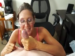 a naughty older lady sucks and jerks