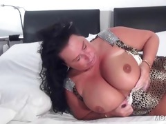 sexually excited older touching herself