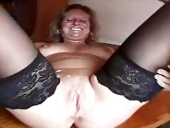bulky aged bitch in nylons is a creampie ho