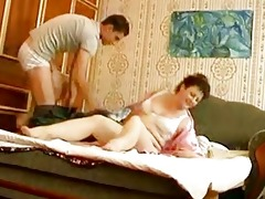 youthful hunk bangs aged fat momma in bedroom