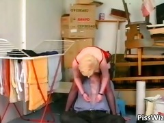 aged blond bitch sucks dick and receives part0