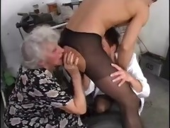 granny and allies have pleasure with youthful knob