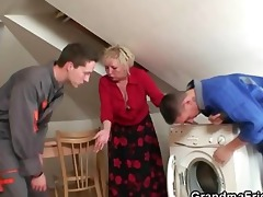 repairmen group-sex breasty grandma