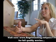 rich blond does blow job and cook jerking for