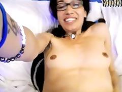sexy slim latin chick on web camera