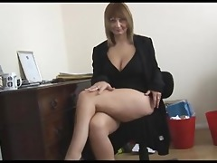 breasty older blond secretary disrobes and widens