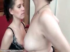 hot brunette hair lesbian receives her slit