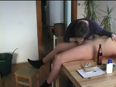 granny gives a oral-job on the kitchen table