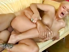 blond momma with large boobs takes shlong up her