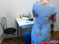 russian aged bitch engulf large rod in the kitchen