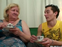 giant granny is team-fucked by her son on law