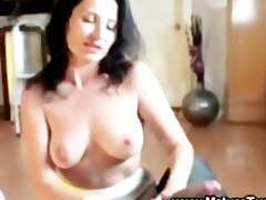 cougar acquires her milk sacks out to tug schlong