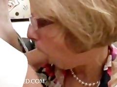 pleasure scene with aged chick in glasses