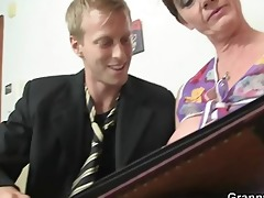 old slut rides his large dong