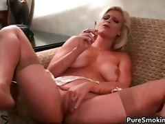 brooke smokes and rubs her fur pie part9