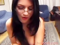 wife looks nice sucking jock with eyeglasses