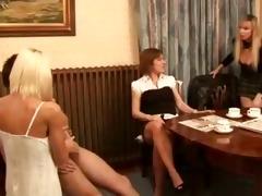 dressed milfs making a chap cum by hand