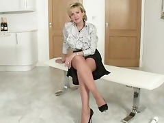 older lady with nylons talks about shit and shows