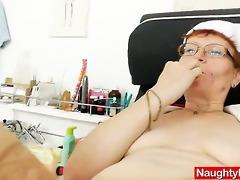 head nurse practitioner in glasses teases her twat