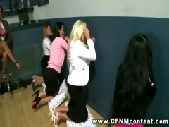 cfnm milfs have a fun gloryhole pounder they can