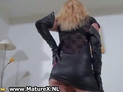 perverted golden-haired in latex can