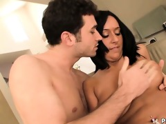 breasty dark brown enjoys her muff drilling and