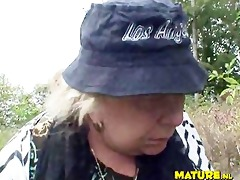 breasty granny in forest