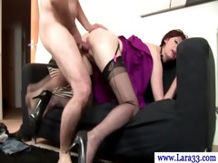 aged nylons getting plowed from behind
