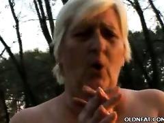 bulky gilf enjoys outdoor sex