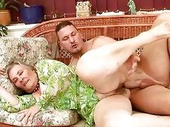very old breasty granny enjoying sexy sex