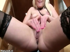 ribald golden-haired aged bitch receives sexually