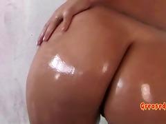 angelina castro oils up her large marangos and