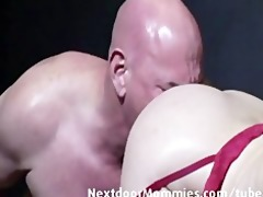 old lad sucked by an old large breasted wo