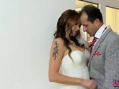 hot breasty bride has one final fling in advance