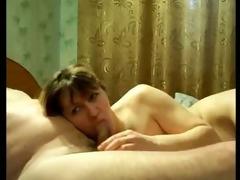 brunette amateur wife sucks pounder