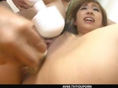 oriental chick yurina in trio nasty group sex