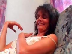 lewd older brunette hair receives wet unshaved