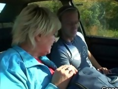 car driver bangs old slut