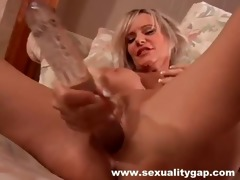 solo golden-haired milf bonks love tunnel with