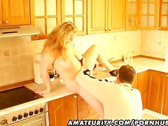 breasty dilettante wife oral-sex titjob and spunk