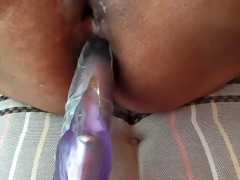 show hur arse fuck white sex toy than white my