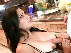 sexy mature lady engulfing big meat on the kitchen