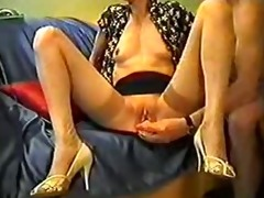 aged wife plays with her fake penis and acquires