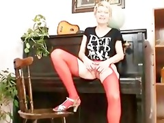 blond milf in red nylons perverted vibrator act