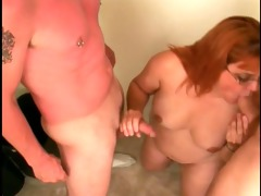 skanky older broad sucks young mates strapon then