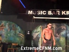 girlfriend engulfing a strippers wang on stage
