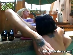 aged blond playing with naughty hotty